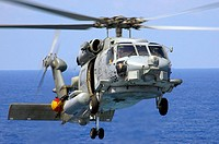 Pacific Ocean (May 19, 2006) - An SH-60B Seahawk assigned to the Saberhawks of Helicopter Anti-submarine Squadron Light Four Seven (HSL-47) prepares t...
