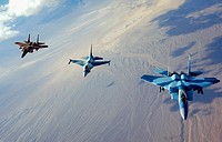 Several F-15 Eagle aircraft and an F-16 Fighting Falcon aircraft take flight after a refueling on Nellis Air Force Base, Nev., Aug. 28, 2007. U.S. Air...