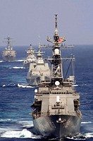 BAY OF BENGAL (Sept. 5, 2007) - Japan Maritime Self-Defense Force destroyer JS Yuudachi (DD 103) leads a formation of ships during Exercise Malabar 20...