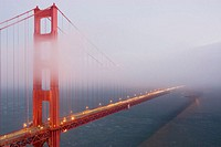 Golden Gate Bridge obscured by fog, San Francisco. California, USA