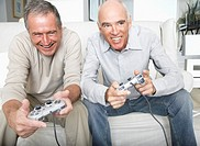 Two friends playing videogames