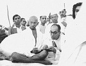 Mahatma Gandhi during the prayer meeting at Juhu Beach, Mumbai, Maharashtra, India, May 1944