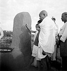 Mahatma Gandhi on a visit to village Segaon near Sevagram Ashram, Vardha, Maharashtra, India, 1944 - MODEL RELEASE NOT AVAILABLE