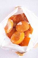 Frozen apricots in freezer bag