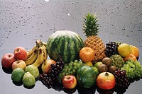 Mix fruits on glass