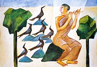 Painting of Flute Player and birds