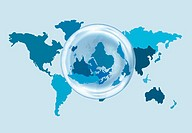 A world map with an overlaying globe