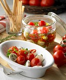 Cherry tomatoes with mozzarella