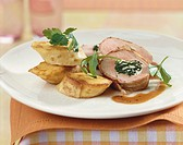 Stuffed pork fillet with pancake rolls
