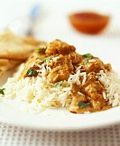 Chicken korma chicken in almond curry sauce with rice