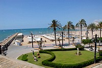 Beach at Sitges, Costa Daurada, Barcelona province, Catalonia. Spain