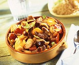 Mushroom, pepper and onion stew