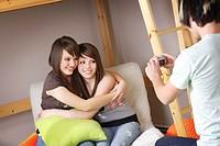 Girls having their picture taken