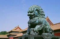 Bronze statue of a lion in the Forbidden City, Beijing, China
