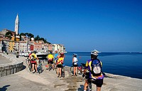 Bicycle tourists at Rovinj, Istria, Croatia, Adriatic Sea, Mediterranean Sea