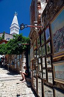 Pictures for sale along the Grisia, a famous art street in Rovinj, Istria, Croatia