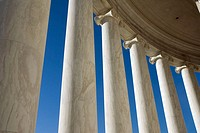 White marble ionic columns, Thomas Jefferson Memorial, Washington, DC, USA. This colonnaded memorial, completed in 1943, is located on the south side ...