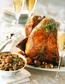 Roast turkey with chestnuts Christmas dish, France