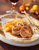 Medallions of young wild boar with pears for Christmas