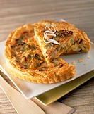 Leek and salmon trout quiche