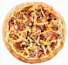 Ham, mushroom and cheese pizza Not available for exclusive usages