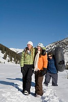 Two Teenage Girls 14-17 and Young Man Standing in Snow on Mountain