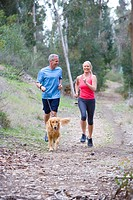 Active senior couple, in sportswear, jogging along woodland path with golden retriever, smiling, front view