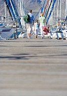 Family walking side by side in mid-distance along harbour jetty, rear view