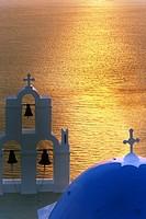 Greece, Santorini, Thira, church, elevated view