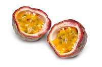 Passion fruit, halved, on white background