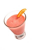 Orange and Raspberry smoothie on white background
