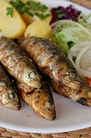 Fresh sardines char grilled on a barbeque