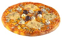 Three Cheese and Olive Pizza, Cut Out