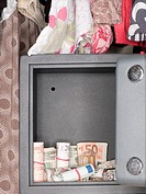 Money and jewelry inside a safe