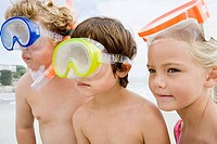 Kids wearing diving masks