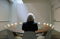 Woman seated in boardroom from behind