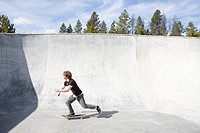Man skateboarding on ramp