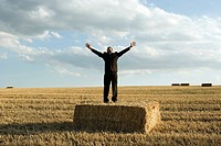 Man standing on hay in wheat field