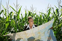 Businesswomen looking at map in cornfield