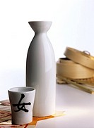 Japanese sake carafe with a sake cup