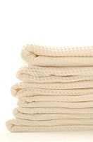 Stack of white piqué towels