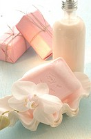Pink soap and lotion