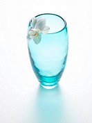 Glas vase and orchid blossom