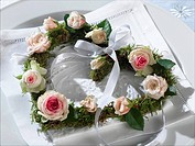Heart shape wreath with rose blossoms