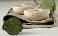 candle holders and lotus flowers