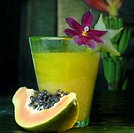 Papaya and a glass of juice