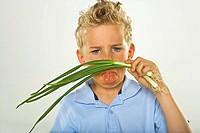 Close-up of a boy smelling spring onion and looking unpleasant
