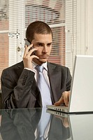 Businessman using a laptop and talking on a mobile phone in an office