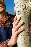 Man touching bark of a tree