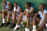 Basketball players laughing